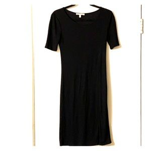 Express ribbed tunic black top with high slit